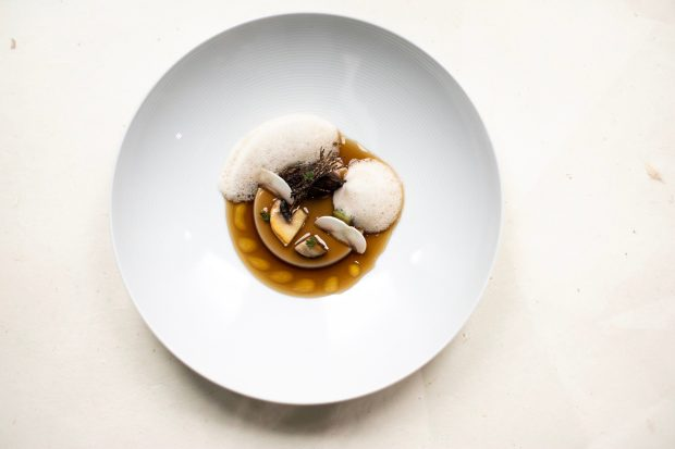 A white plate is topped with what looks like a creme catalana. There are slices of mushrooms and white foam on top