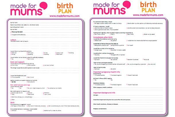 what to write in a birth plan