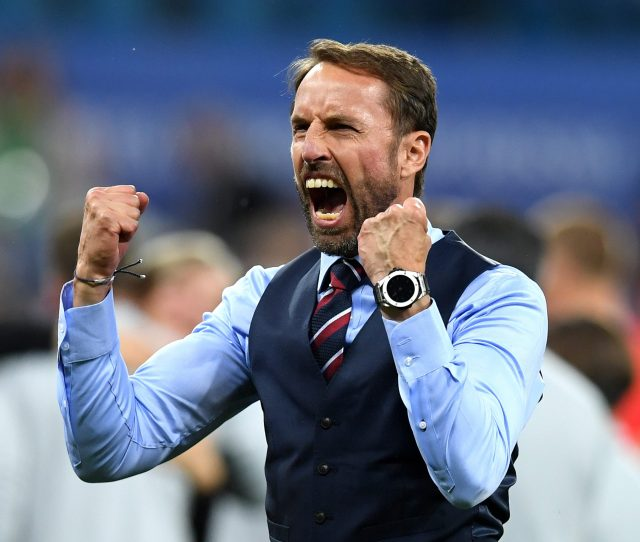 Volgograd Russia June 18 Gareth Southgate Manager Of England Celebrates Victory Following