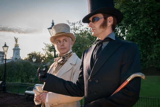 Amazon has released new images of Good Omens stars Michael Sheen and David Tennant in Character (Amazon Prime Video).