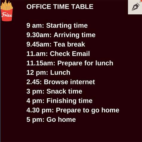 office-time-table