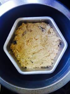 The raw cake batter inside the pressure cooker (Source: Sanghamitra Mazumdar)