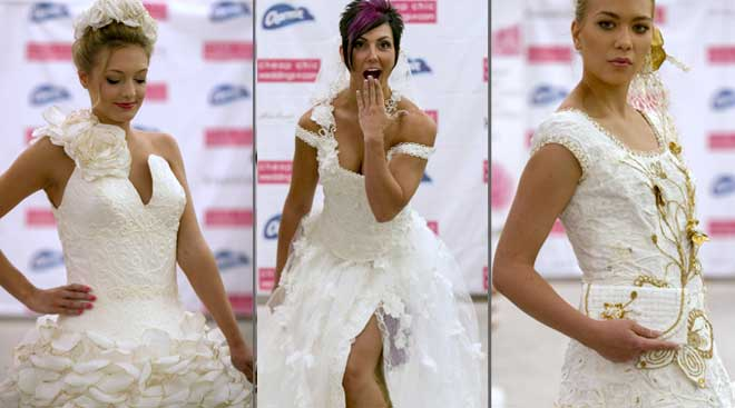 Here comes the bride, all dressed in ... toilet paper?
