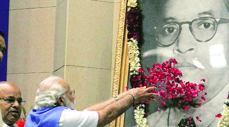 Modi paying respects to Dr Ambedkar