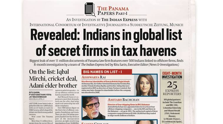 Indian Express front page (first Panama Papers story