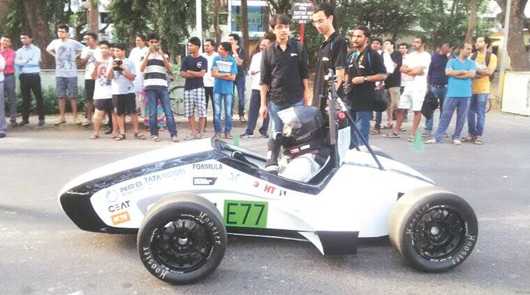 Students claim the car, Ocra, has a speed of more than 145 kmph and acceleration of 0-100 kmph in 3.47 seconds. It will compete in Formula Student (UK) in July. Express photo.