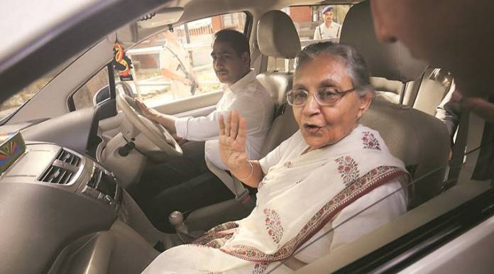 Sheila Dikshit after meeting Sonia Gandhi at her residence in New Delhi on Thursday. (Express Photo by Anil Sharma)