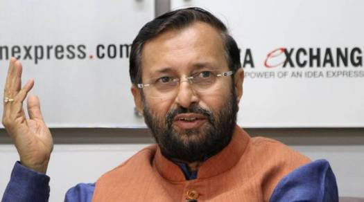HRD Minister Prakash javadekar during the Idea Exchange at New Delhi office. Express photo by Renuka Puri.