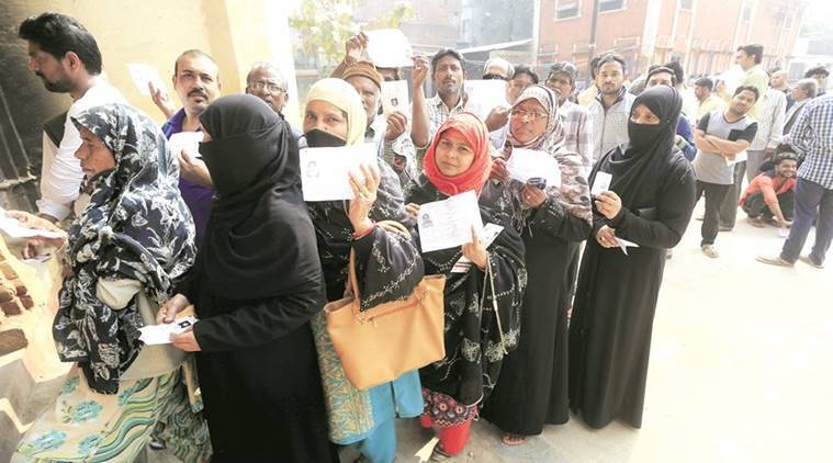 Women voters in queue