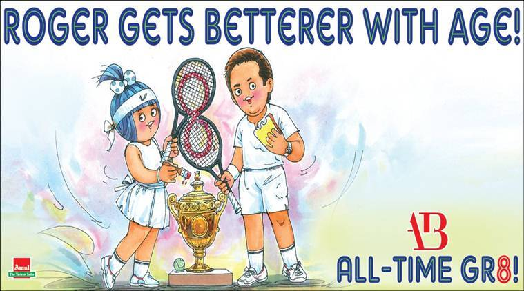 'All time Gr8': Amul celebrates Roger Federer's historic 8th Wimbledon title with this beautifulcartoon