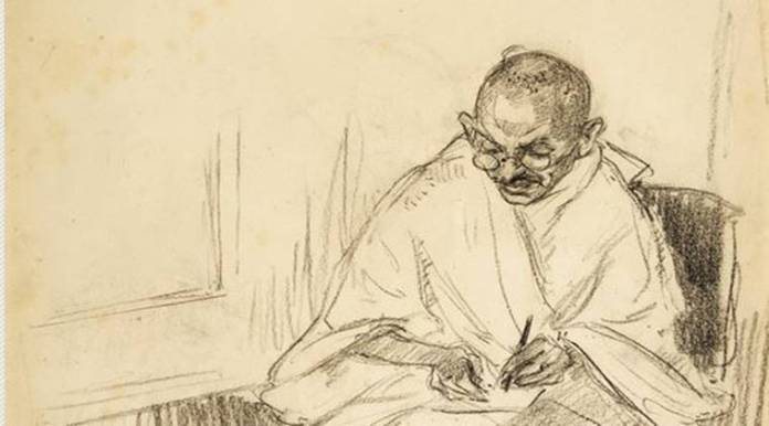 mahatma gandhi, post card signed by gandhi auctioned in us, mahatma gandhi postcard, gandhi post card auction