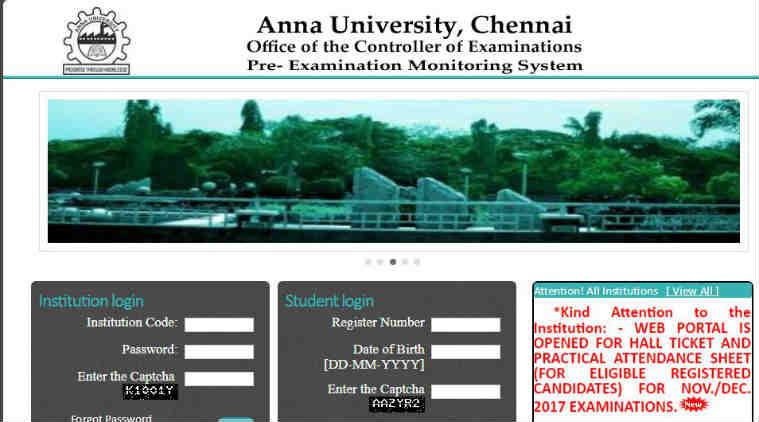 Anna University Nov Dec exam 2017 hall tickets released