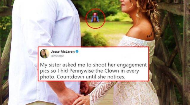 Guy pulls a SPOOKY PRANK in sisters engagement photos; hides Pennywise, the horror clown,everywhere