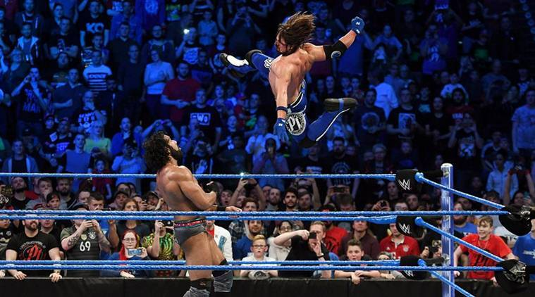 Image result for AJ Styles wins WWE Championship against Jinder Mahal