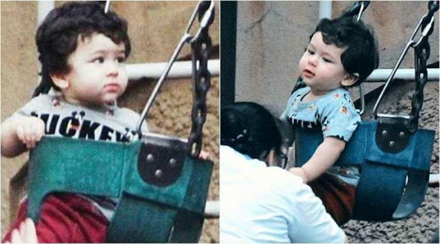 Image result for Taimur Ali Khan gets playful as he enjoys a swing at a park, see photos
