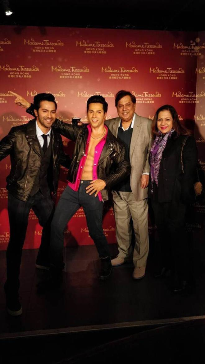 varun dhawan and david dhawan at madame tussauds