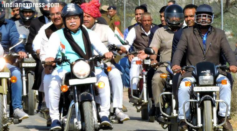 CM Manohar Lal Khattar rides bike, reviews preparations ahead of Amit Shah's Jind rally