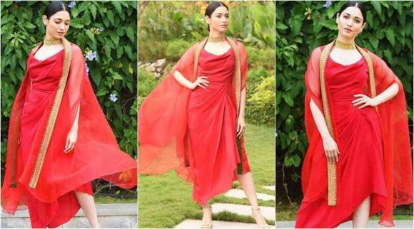 Tamannaah Bhatia's cape dress is a fabulous idea but the styling is a let-down