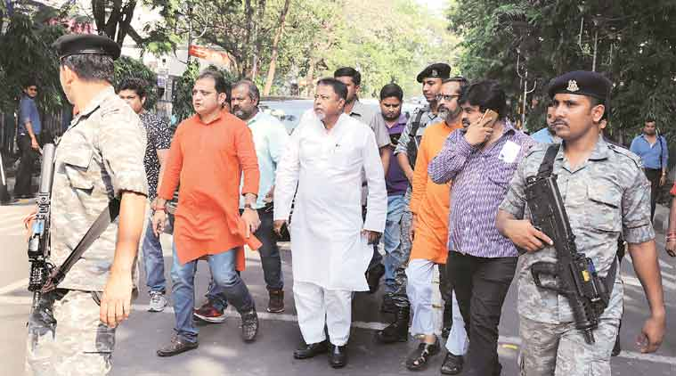 Mukul Roy leads a rally in front of the State Election Commission office in Kolkata on Wednesday. (Express Photo: Partha Paul)