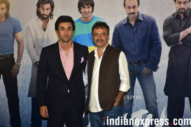 ranbir kapoor with rajkumar hirani at sanju teaser launch