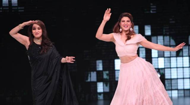 Madhuri Dixit and Jacqueline Fernandez match steps on Ek Do Teen on Dance Deewane