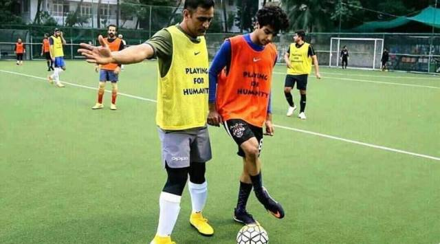 MS Dhoni plays football with Dhadak star Ishaan Khatter in Mumbai