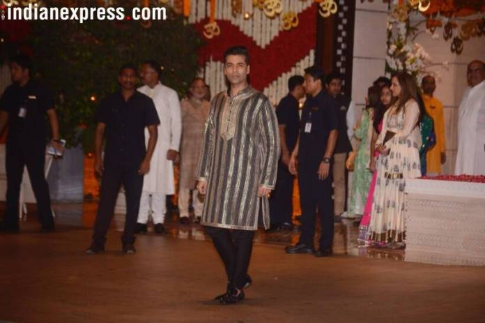 karan johar at ganesh chaturthi celebrations  Mukesh Ambani's Ganesh Chaturthi bash: Kareena, Katrina, Madhuri, and others arrive in style karan