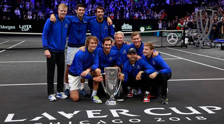 Team Europe pose with the Laver Cup after defeating Team World, Sunday, Sept. 23, 2018, in Chicago