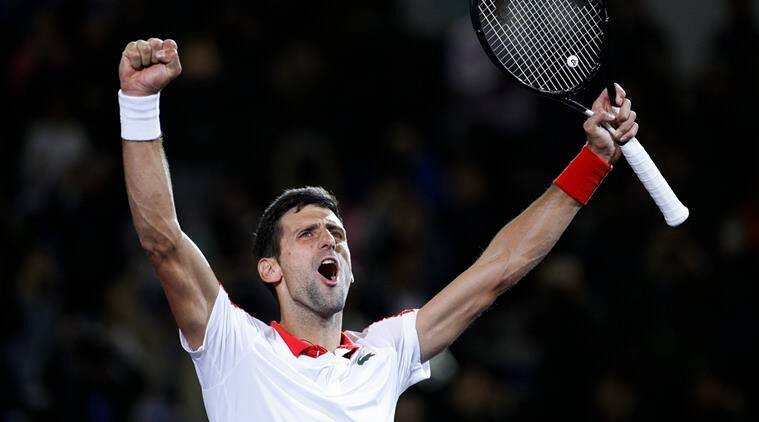 Novak Djokovic of Serbia celebrates after defeating Borna Coric of Croatia in their men's singles final match in the Shanghai Masters tennis tournament