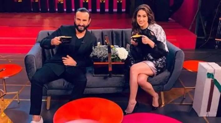 Sara Ali Khan and Saif Ali Khan shoot for Koffee with Karan