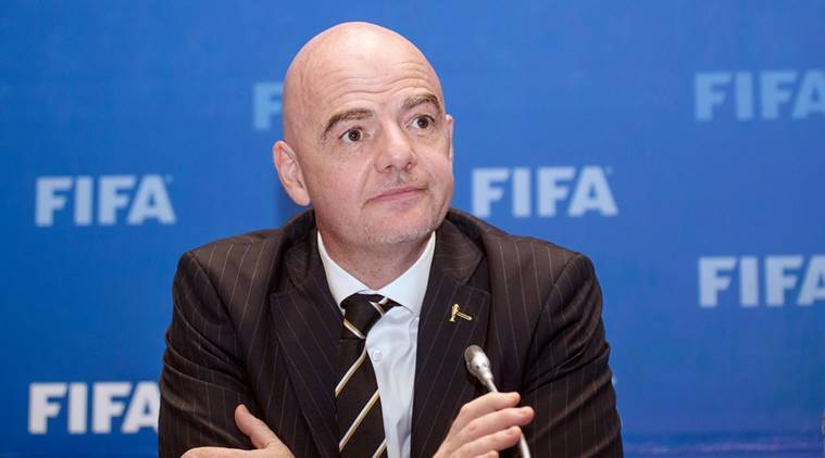 FIFA President Gianni Infantino attends a news conference in Kigali, Rwanda