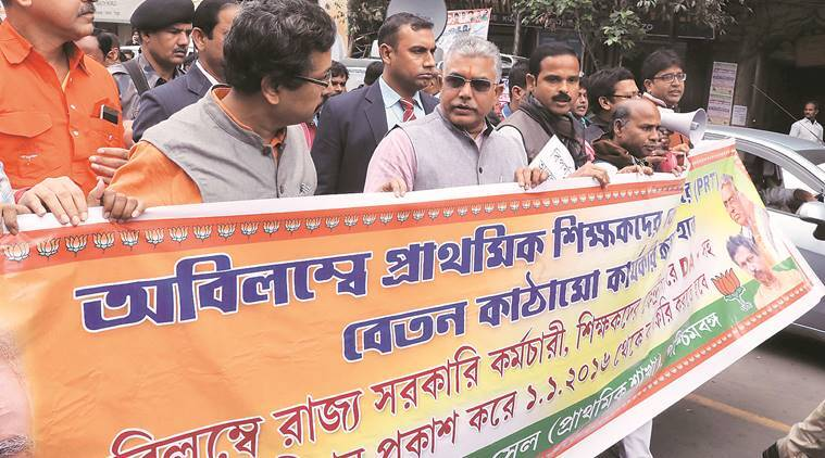 BJP state president Dilip Ghosh at a rally taken out by primary teachers in Kolkata on Monday. Partha Paul