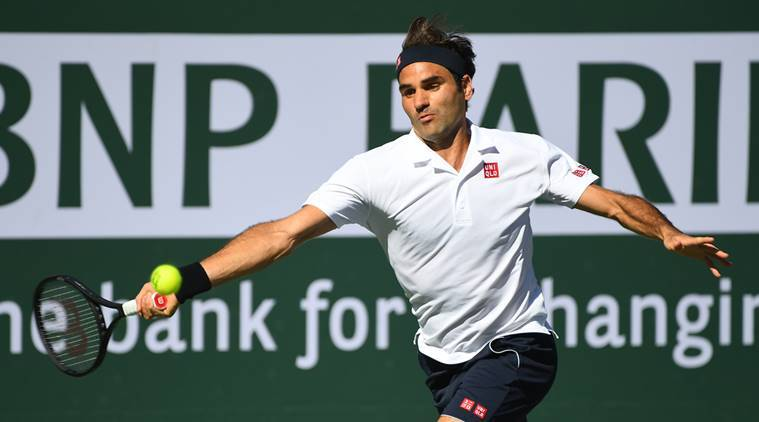 Roger Federer (SUI) during his fourth round match as he defeated Kyle Edmund (not pictured) in the BNP Paribas Open at the Indian Wells Tennis Garden.