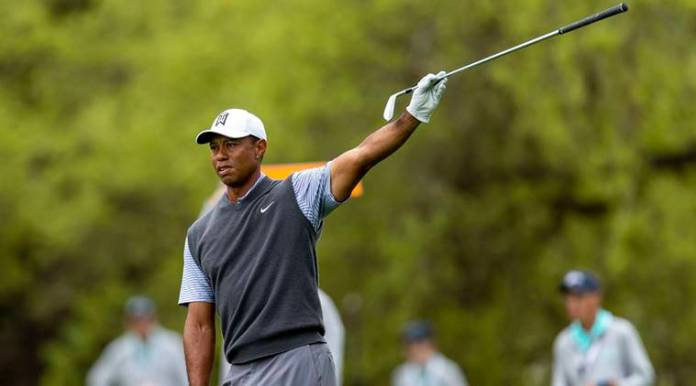 Tiger Woods reacts on the sixth hole during the third round of the WGC - Dell Technologies Match Play golf tournament at Austin Country Club.