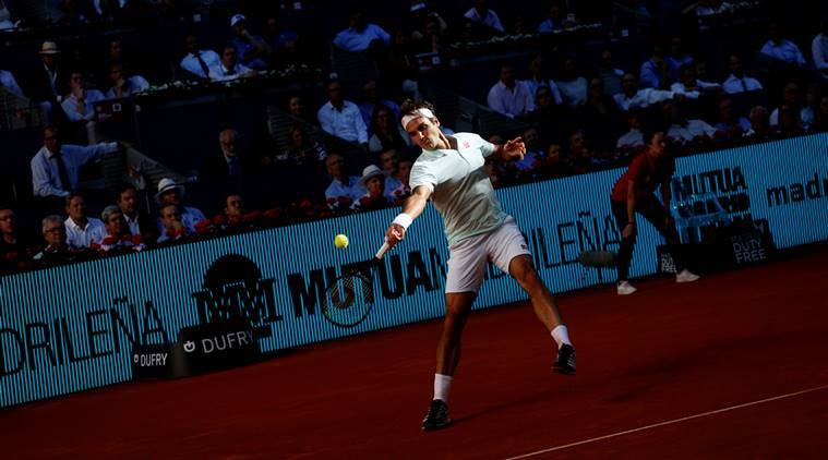 Switzerland's Roger Federer in action during his quarter final match against Austria's Dominic Thiem