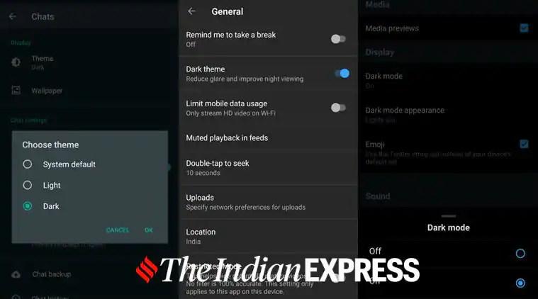 Dark theme, Dark mode, WhatsApp Dark mode, Instagram dark mode, how to enable WhatsApp dark mode, Facebook Messenger dark mode, YouTube app Dark mode, Twitter dark mode