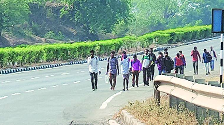 From factories in Maharashtra, migrant labourers begin the long walk home
