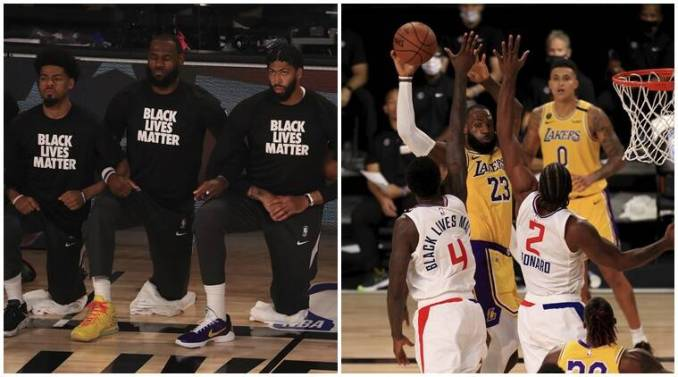 Lebron James takes a knee before the game and then hits game winner for Lakers (Source: AP)