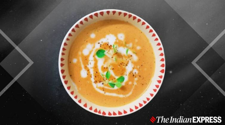 Charred Pepper Soup with Coconut Milk, vegan soup, soup recipes, indianexpress, indianexpress.com, monsoon soups, easy beverages, amrita kaur recipes,