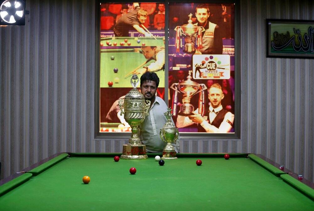 Ikram trophy No arms, no issue for Pakistan snooker player Mohammad Ikram