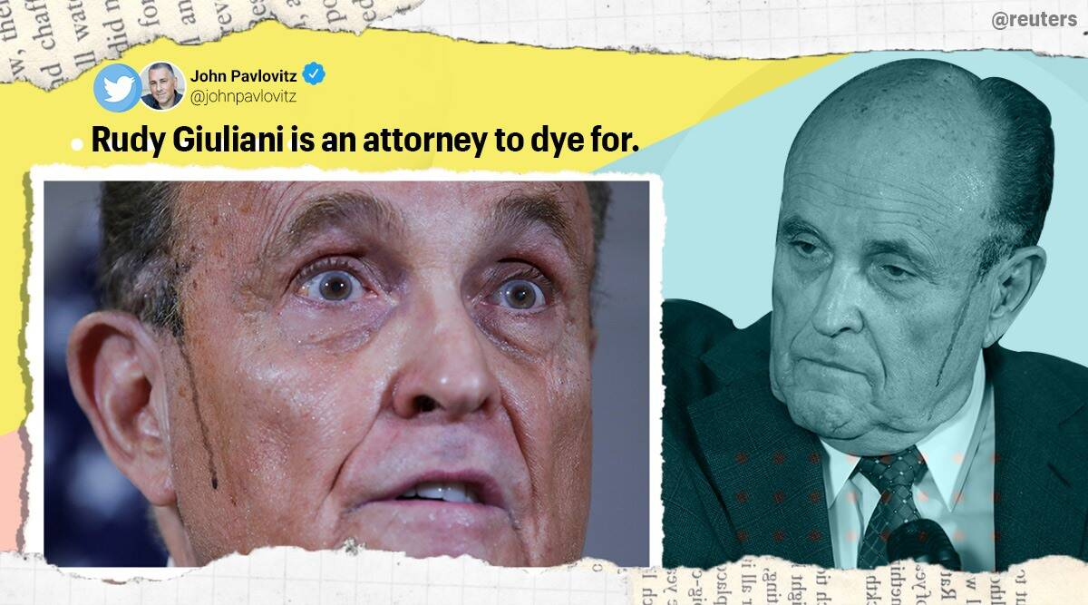 Dye' streaks on Rudy Giuliani's face during event sparks meme-fest online |  Trending News,The Indian Express