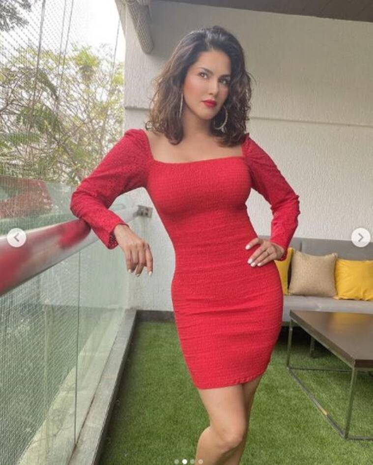 3 5 Sunny Leone is ringing in the holiday spirit with this bright outfit; see pics