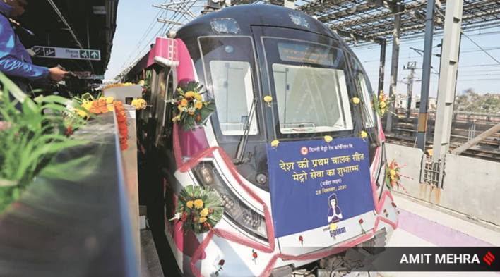 launching driverless train, pm hails move to 'smart systems'   india news,the indian express