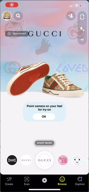 augmented regality, AR, AR marketing and advertising, luxury brands using AR, Gucci Snapchat, Louis Vuitton, Google make up try on, AR apps, Covid-19