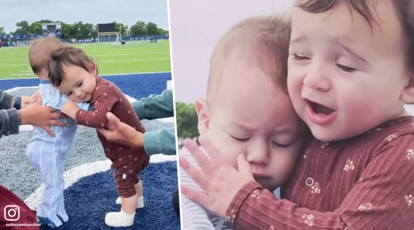 Adorable moment when two 'quarantine babies' hugged each other for the first time and refused to let go