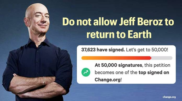 Jeff Bezos is going to space and 59,000 people have signed a petition to  stop him from returning