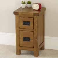 Rustic Oak 2 Drawer Slim Bedside Table - Solid Bedroom ...