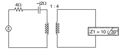 The impedance seen by the source in the circuit in the figure