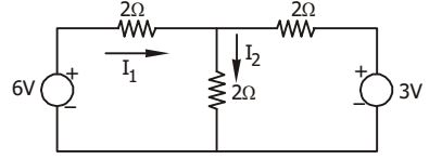 In the circuit shown in the given figure, if I1 = 1.5 A,