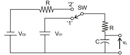 The switch SW shown in the circuit is kept at position '1'